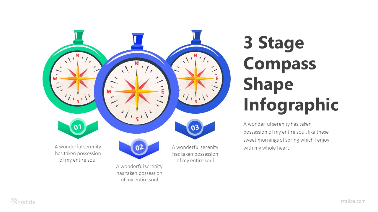 3 Stage Compass Shape Infographic Template