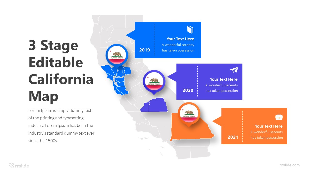 3 Stage Editable California Map Infographic Template