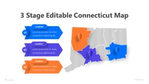 3 Stage Editable Connecticut Map Infographic Template