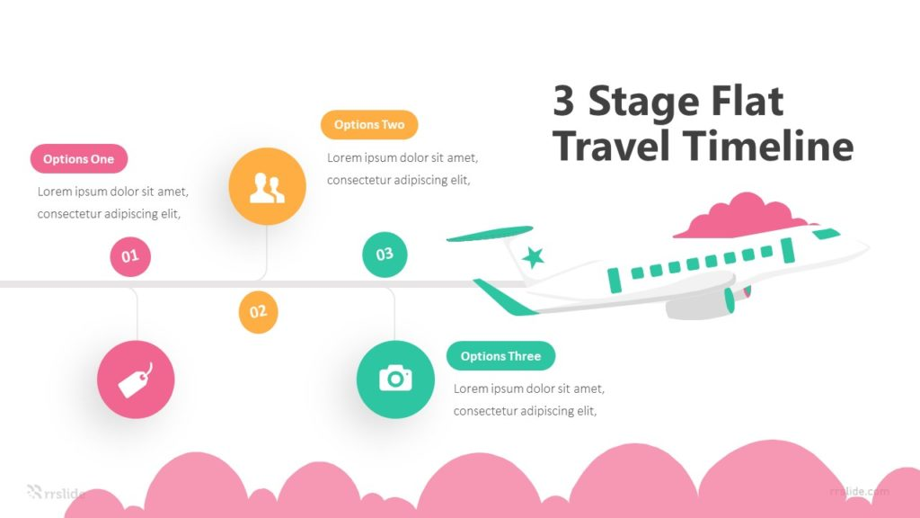 3 Stage Flat Travel Timeline Infographic Template