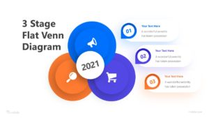 3 Stage Flat Venn Diagram Infographic Template