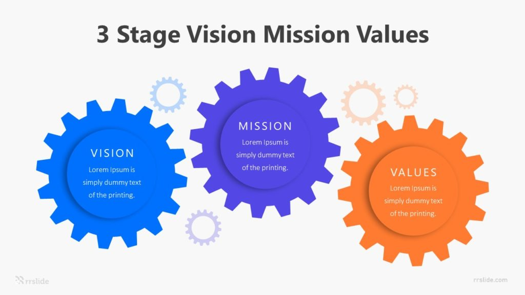 3 Stage Gear Vision Mission Values Infographic Template