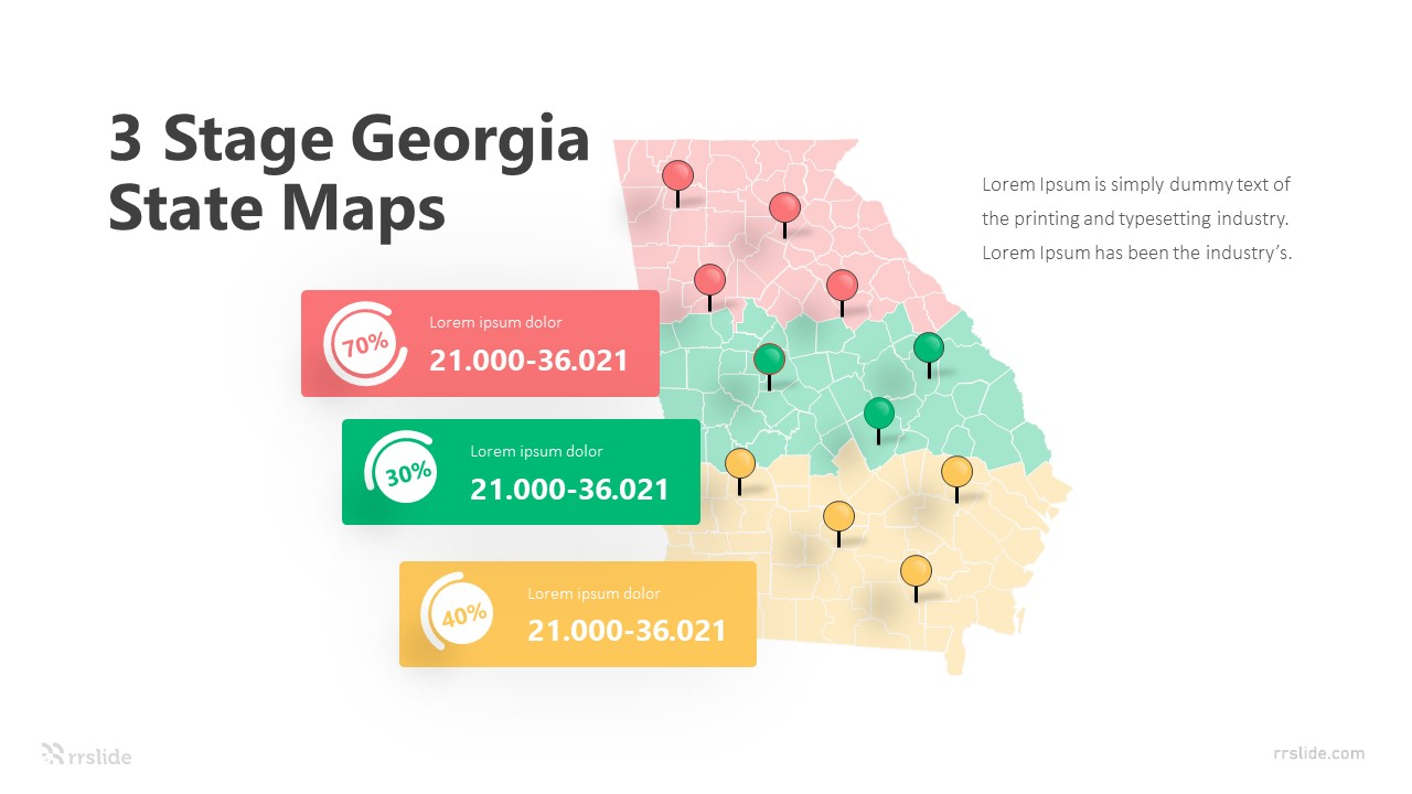 3 Stage Georgia State Maps Infographic Template