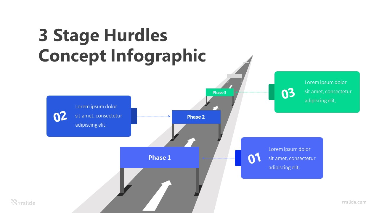 3 Stage Hurdles Concept Infographic Template