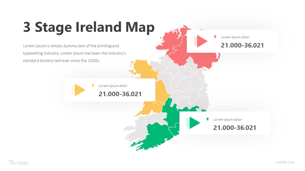 3 Stage Ireland Map Infographic Template
