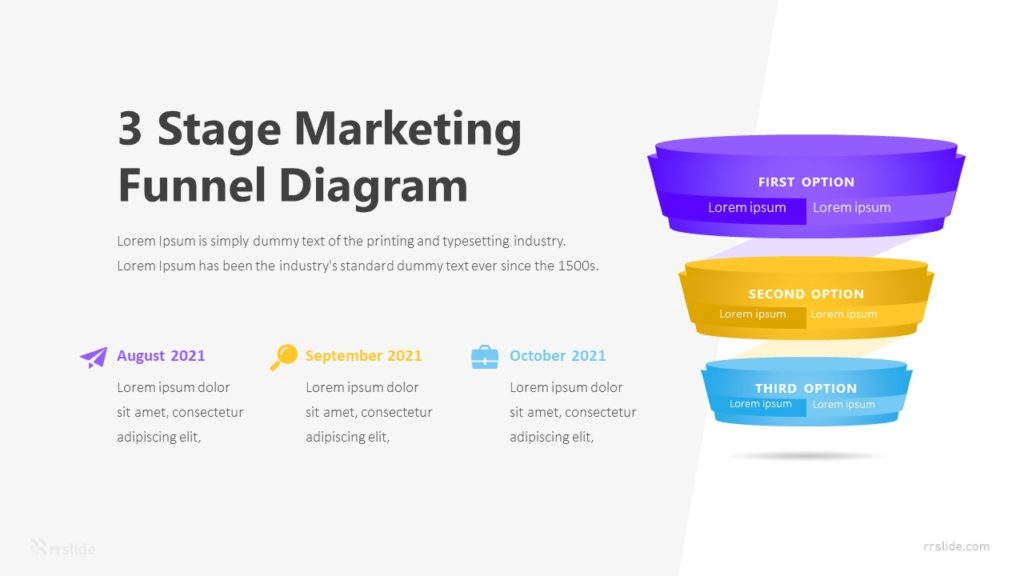 3 Stage Marketing Funnel Diagram Infographic Template