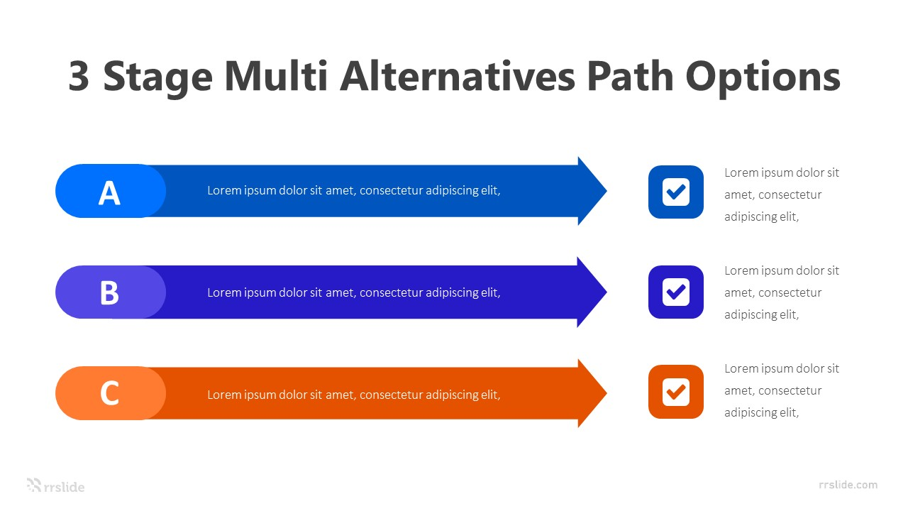 3 Stage Multi Alternatives Path Options Infographic Template
