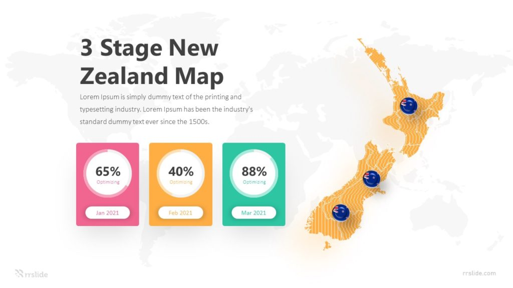 3 Stage New Zealand Map Infographic Template