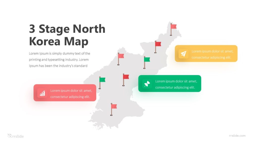 3 Stage North Korea Map Infographic Template