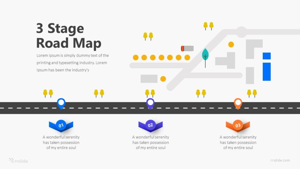 3 Stage Road Map Infographic Template