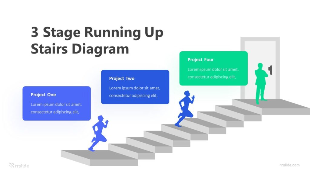 3 Stage Running Up Stairs Diagram Infographic Template