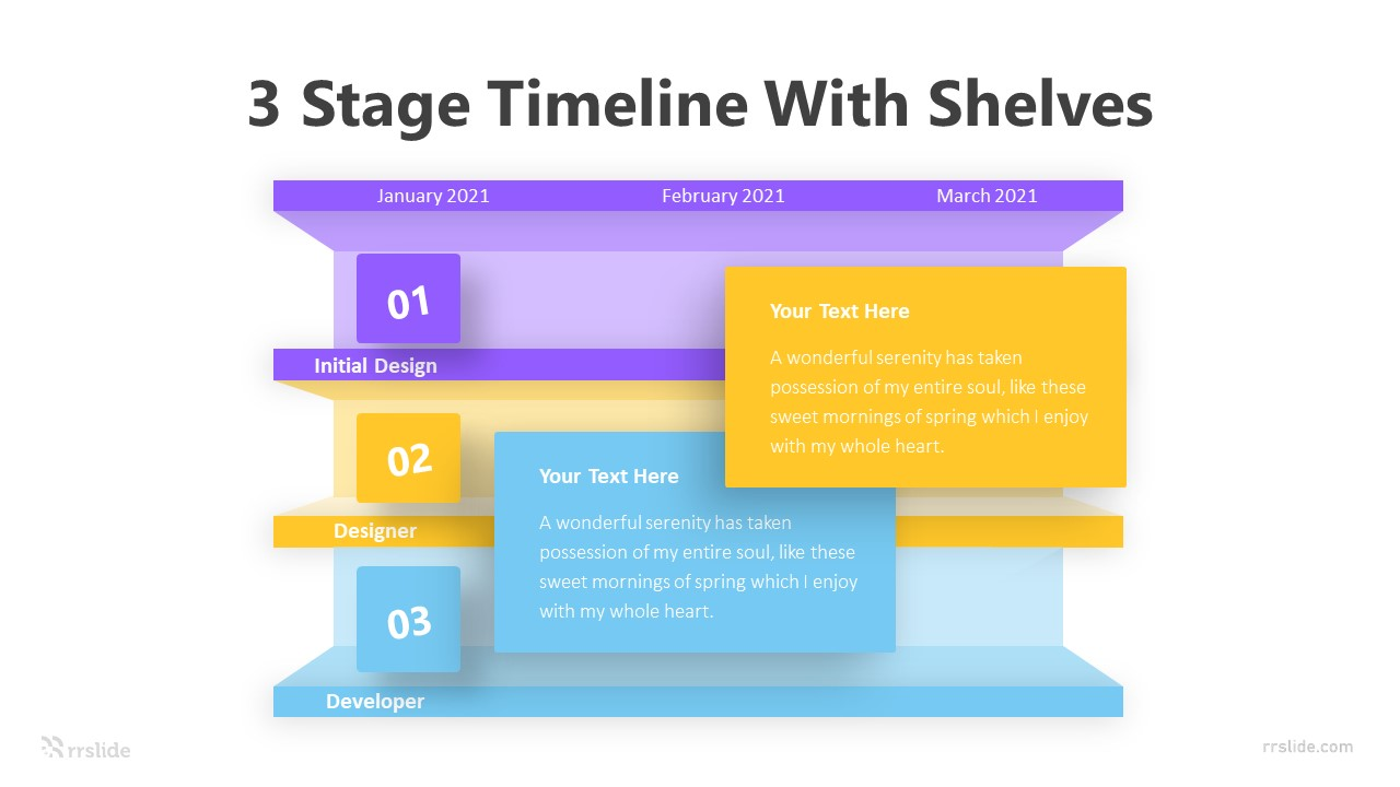3 Stage Timeline With Shelves Infographic Template