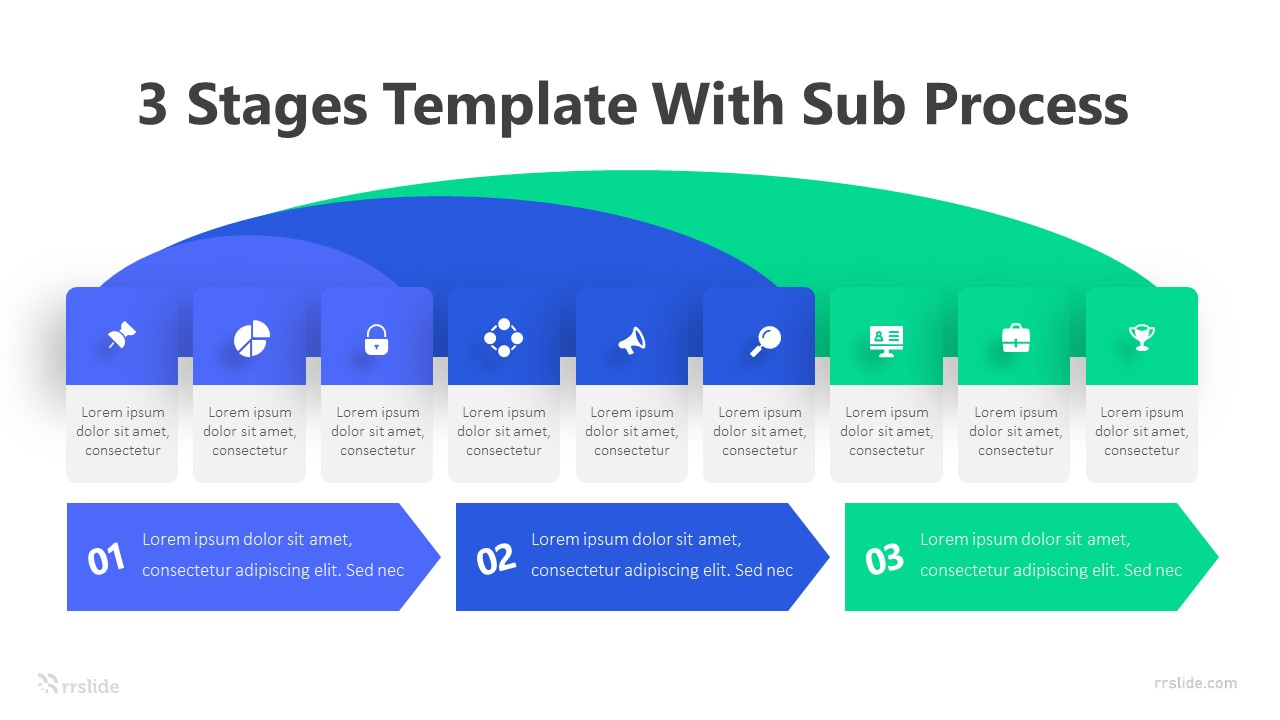 3 Stages Template With Sub Process Infographic Template