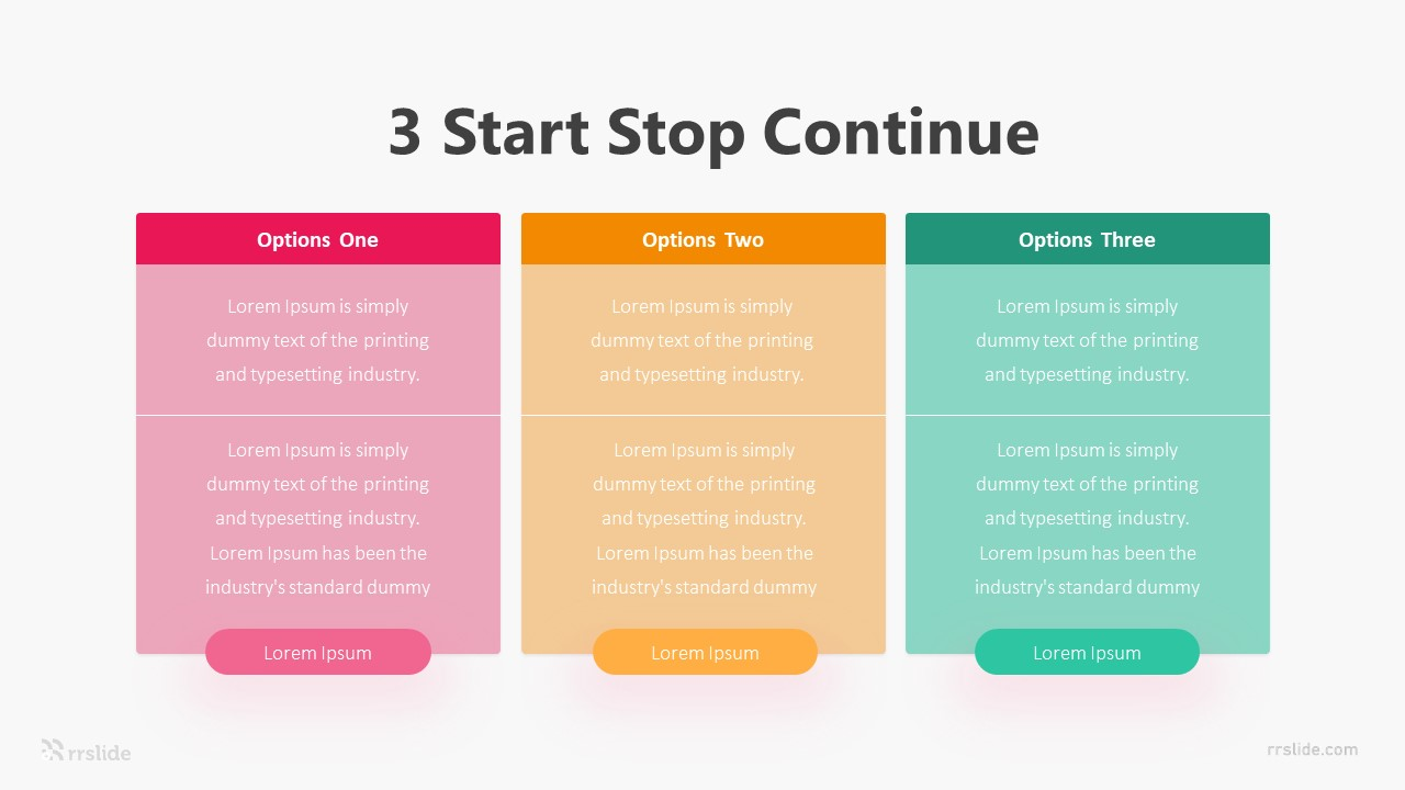 3 Start Stop Continue Infographic Template