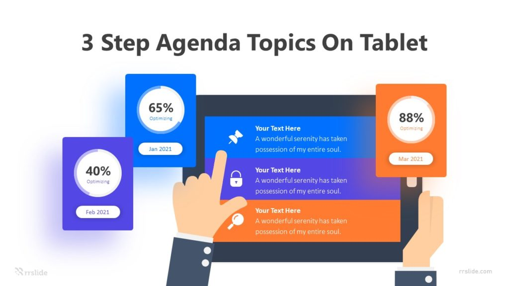 3 Step Agenda Topics On Tablet Infographic Template