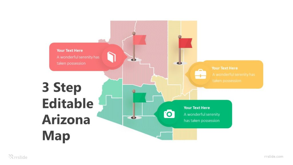 3 Step Editable Arizona Map Infographic Template
