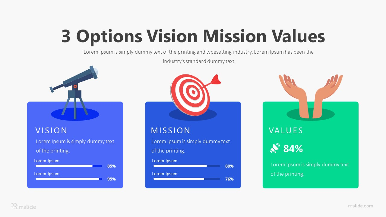 3 Step Vision Mission Values Infographic Template