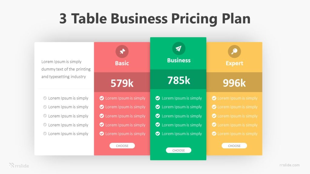 3 Table Business Pricing Plan Infographic Template