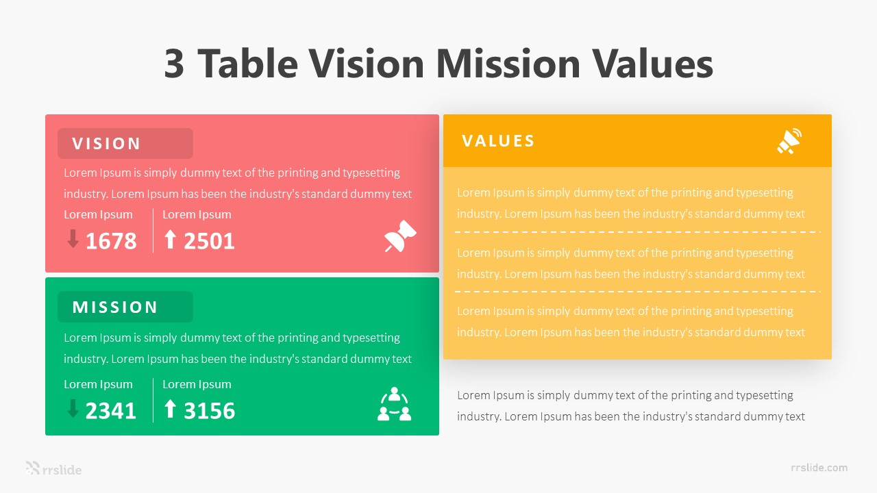 3 Table Vision Mission Values infographic Template