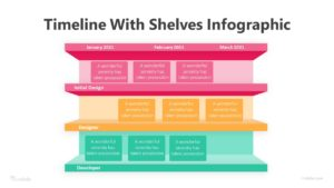 3 Timeline With Shelves Infographic Template