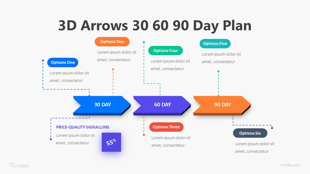 3D Arrow 30 60 90 Day Plan Infographic Template