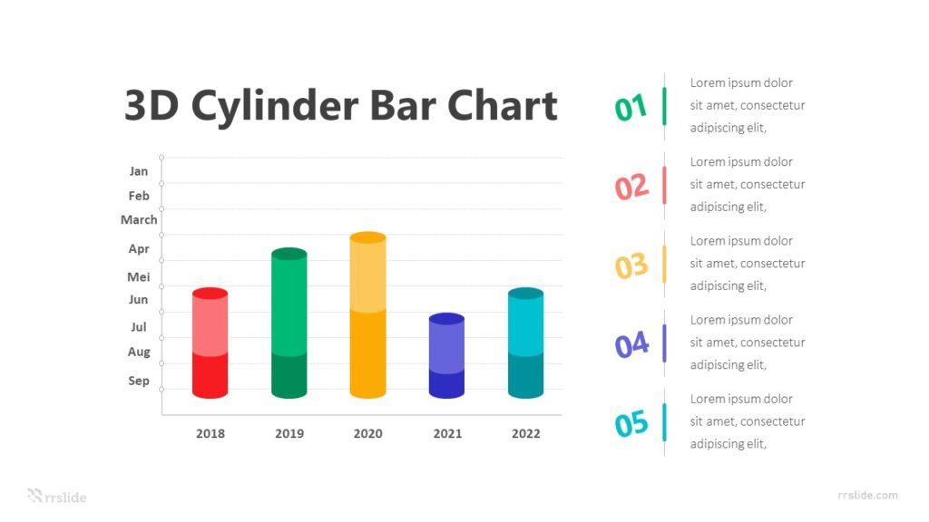 3D Cylinder Bar Chart Infographic Template