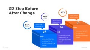 3D Step Before After Change Infographic Template
