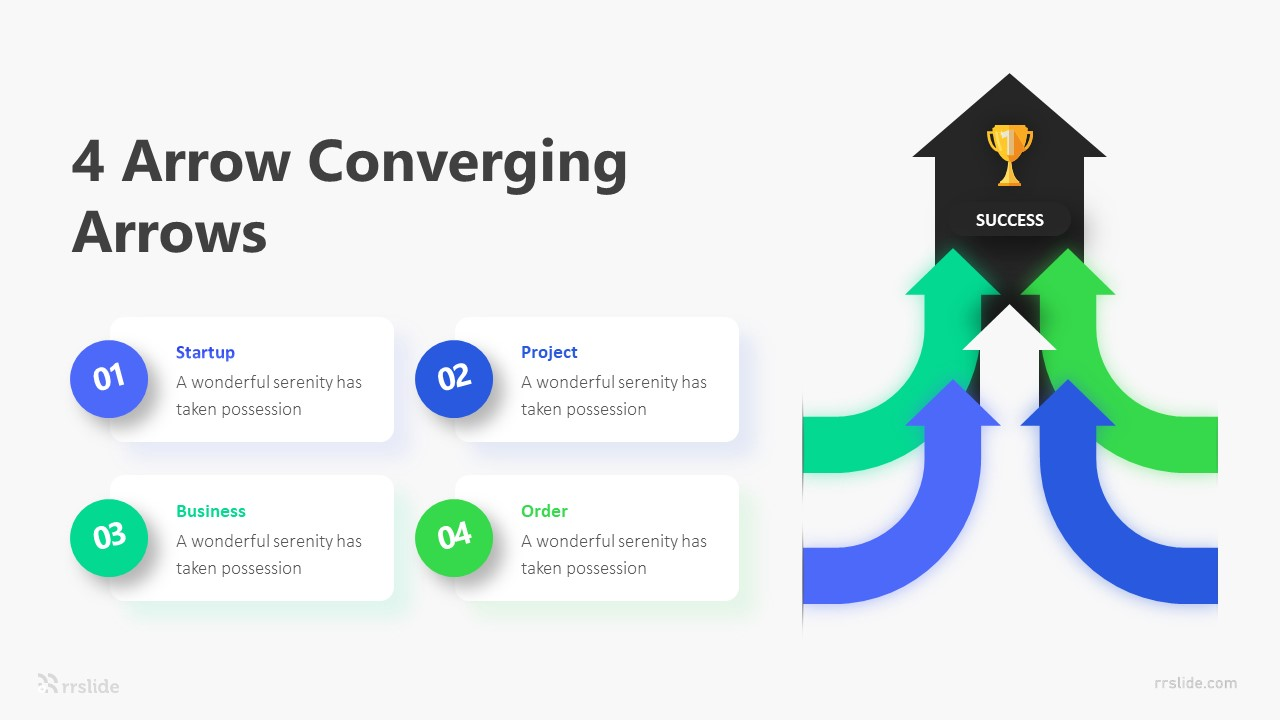 4 Arrow Converging Arrows Infographic Template