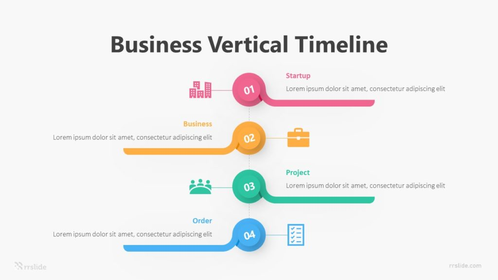 4 Business Vertical Timeline Infographic Template