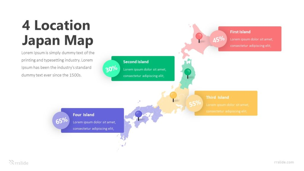 4 Location Japan Map Infographic Template