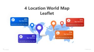 4 Location World Map Leaflet Infographic Template