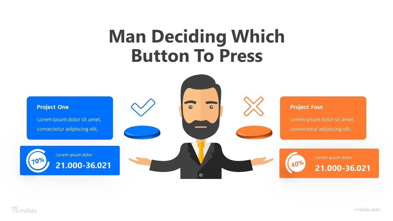 4 Man Deciding Which Button To Press Infographic Template