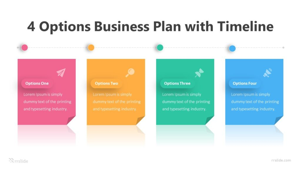 4 Options Business Plan with Timeline Infographic Template