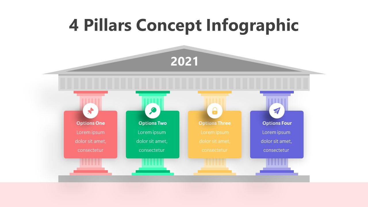 4 Pillars Concept Infographic Template