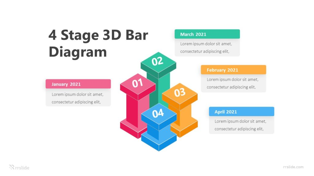 4 Stage 3D Bar Diagram Infographic Template