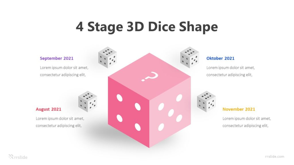 4 Stage 3D Dice Shape Infographic Template