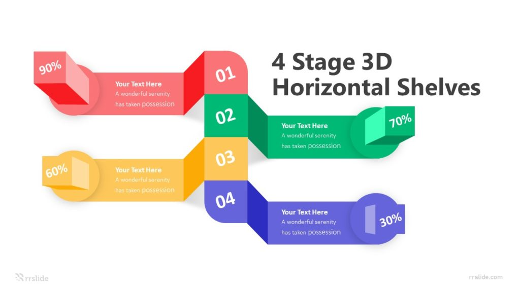 4 Stage 3D Horizontal Shelves Infographic Template