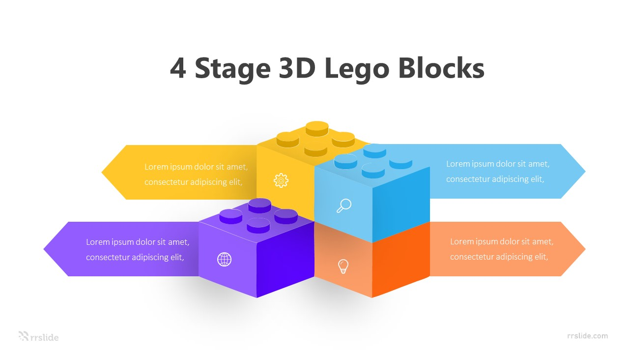 4 Stage 3D Lego Blocks Infographic Template