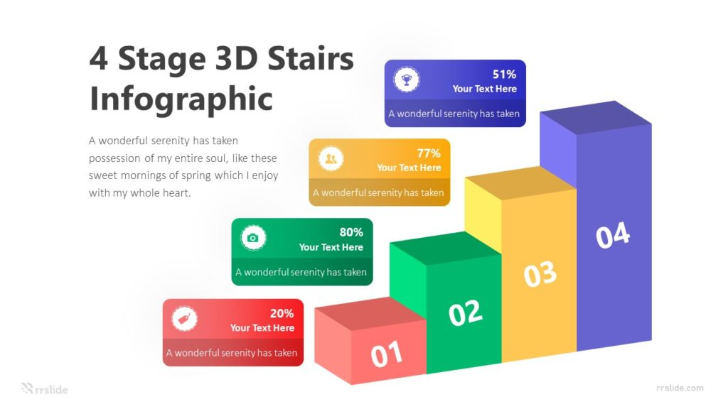 4 Stage 3D Stairs Infographic Template