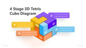 4 Stage 3D Tetris Cube Diagram Infographic Template