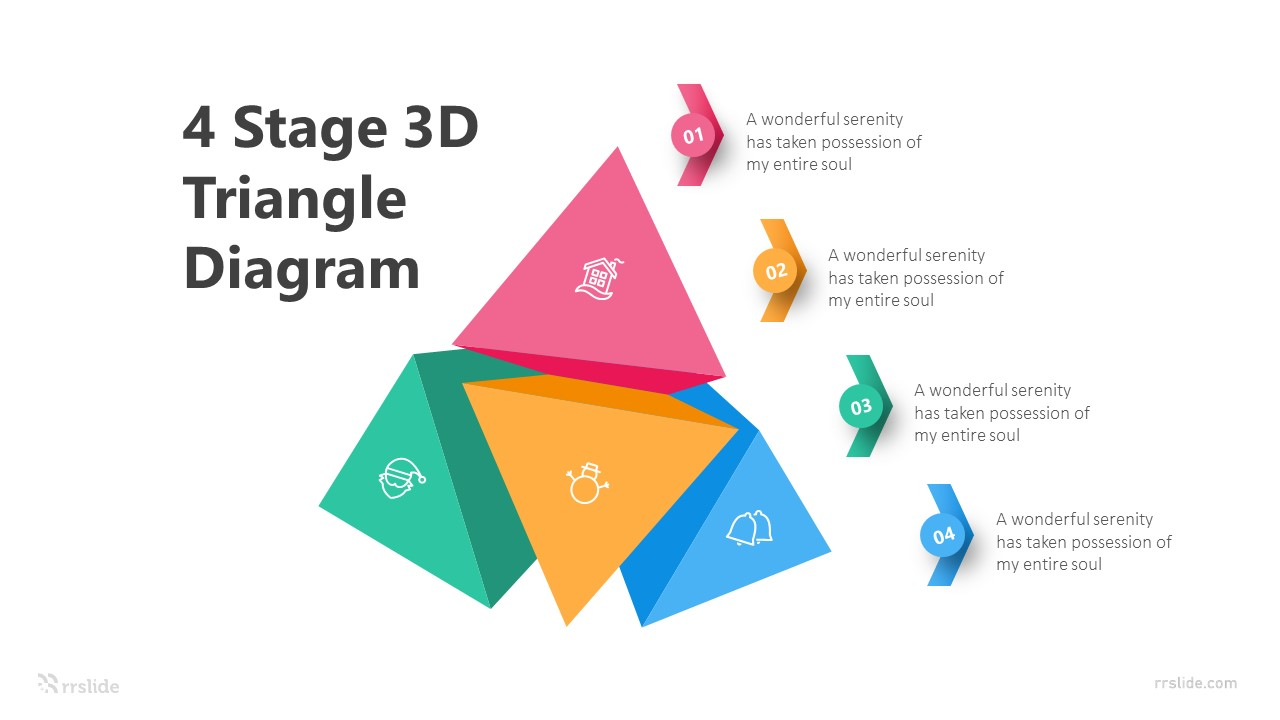 4 Stage 3D Triangle Diagram Infographic Template