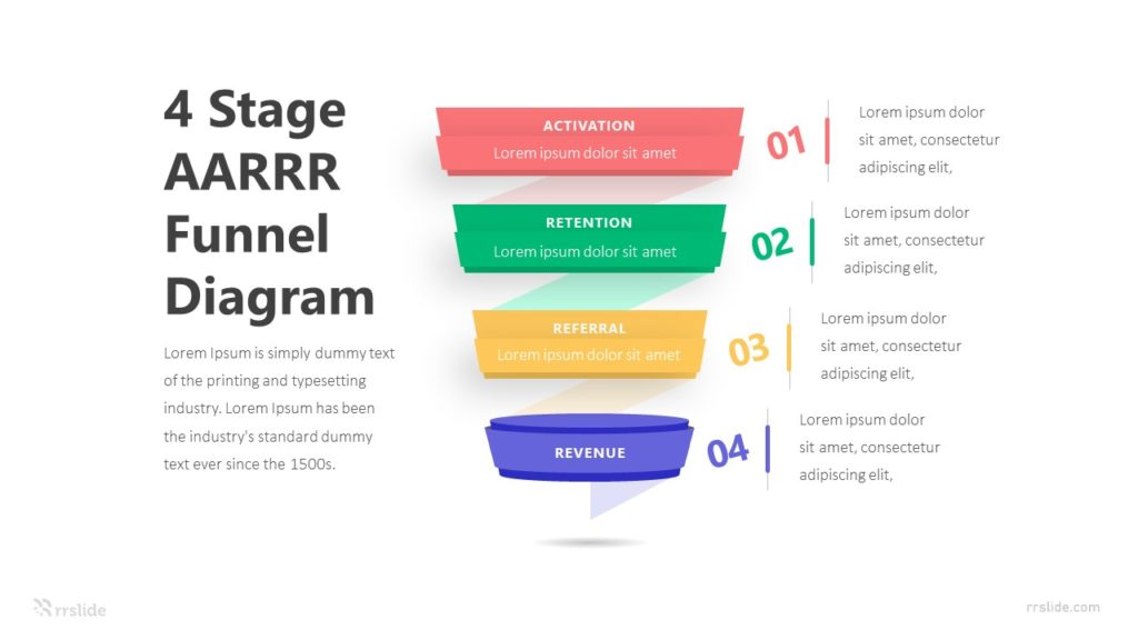 4 Stage AARRR Funnel Diagram Infographic Template