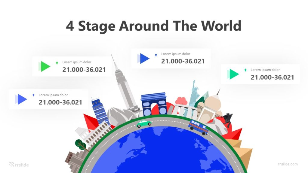 4 Stage Around The World Infographic Template
