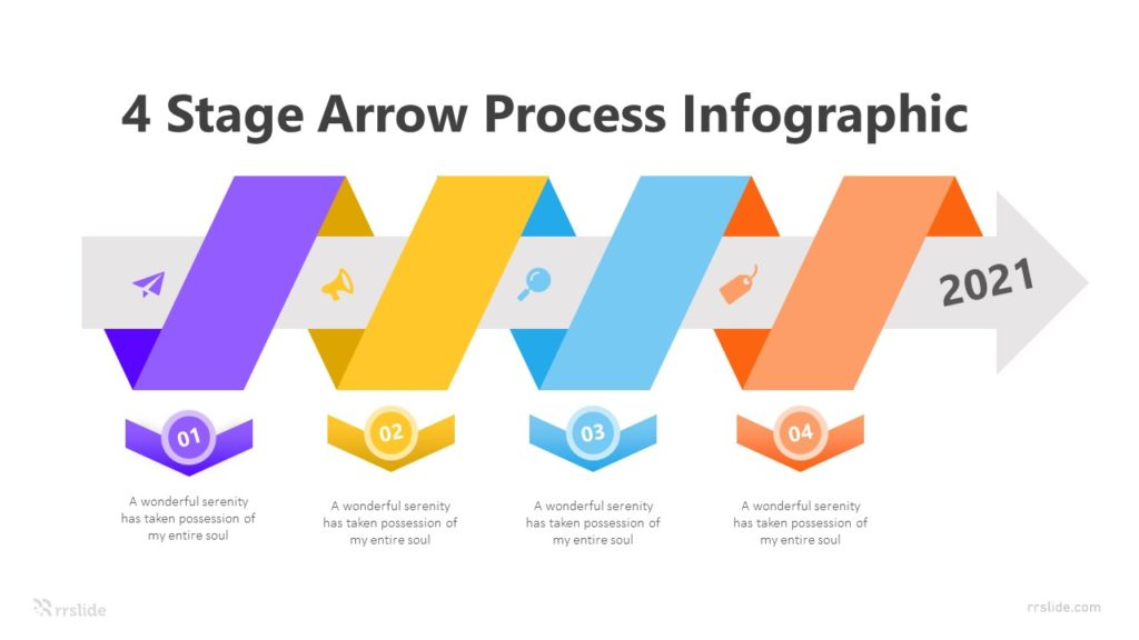 4 Stage Arrow Process Infographic Template