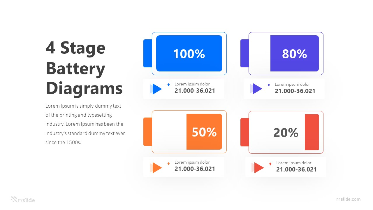 4 Stage Battery Diagrams Infographic Template