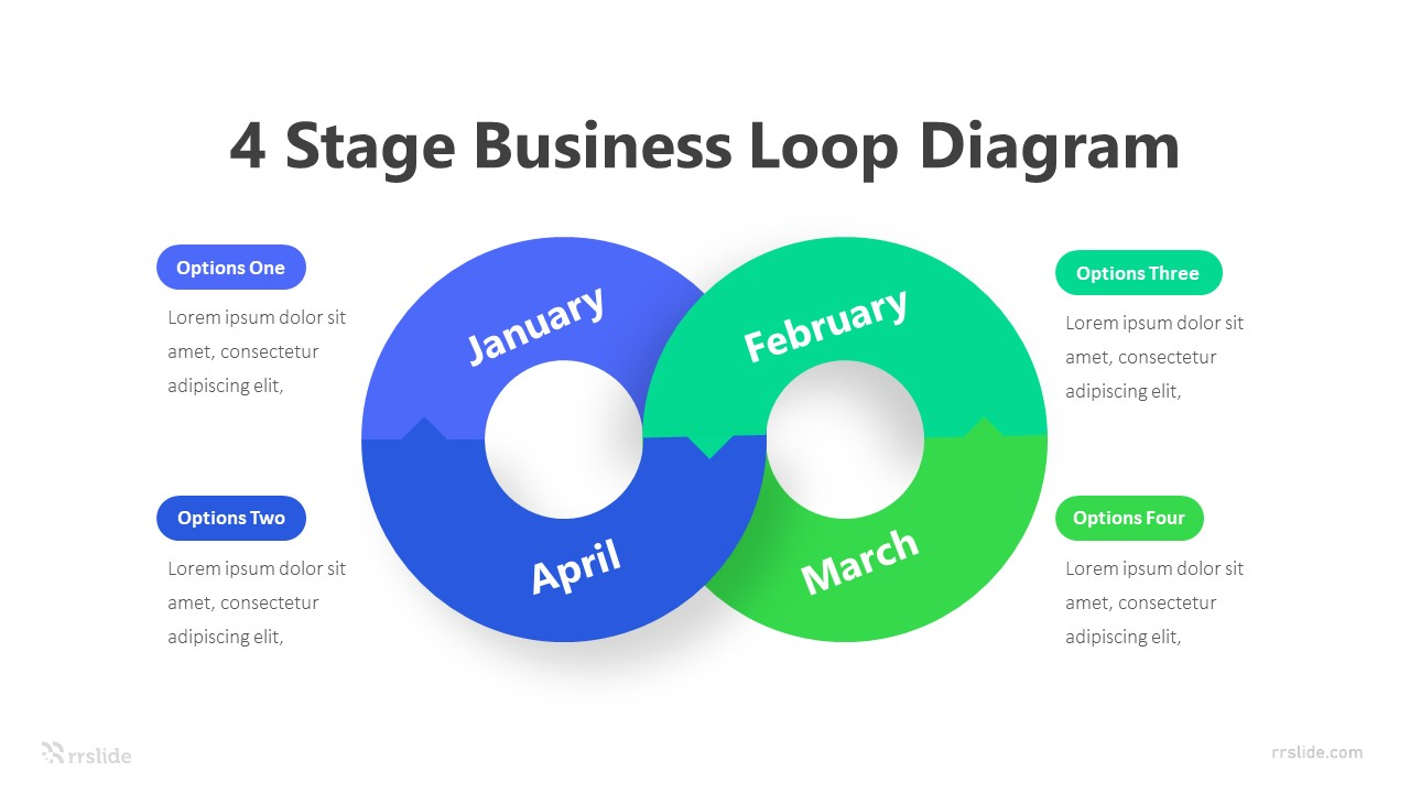 4 Stage Business Loop Diagram Infographic Template