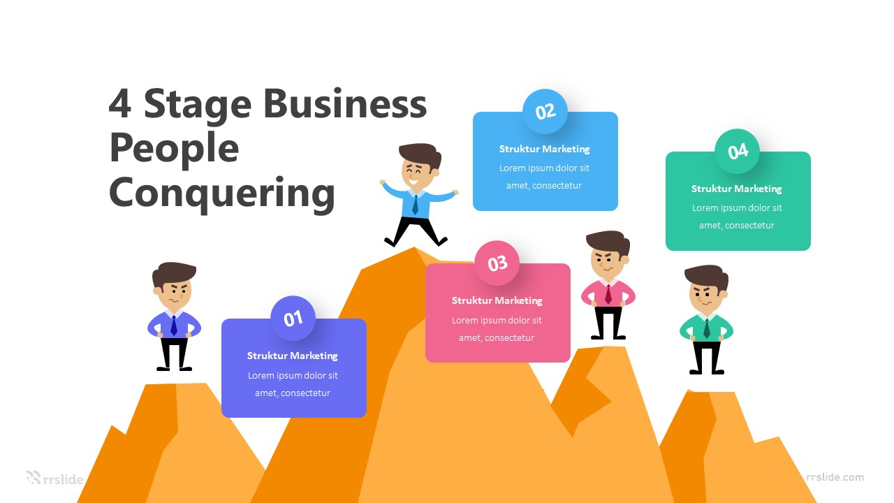 4 Stage Business People Conquering Infographic Template