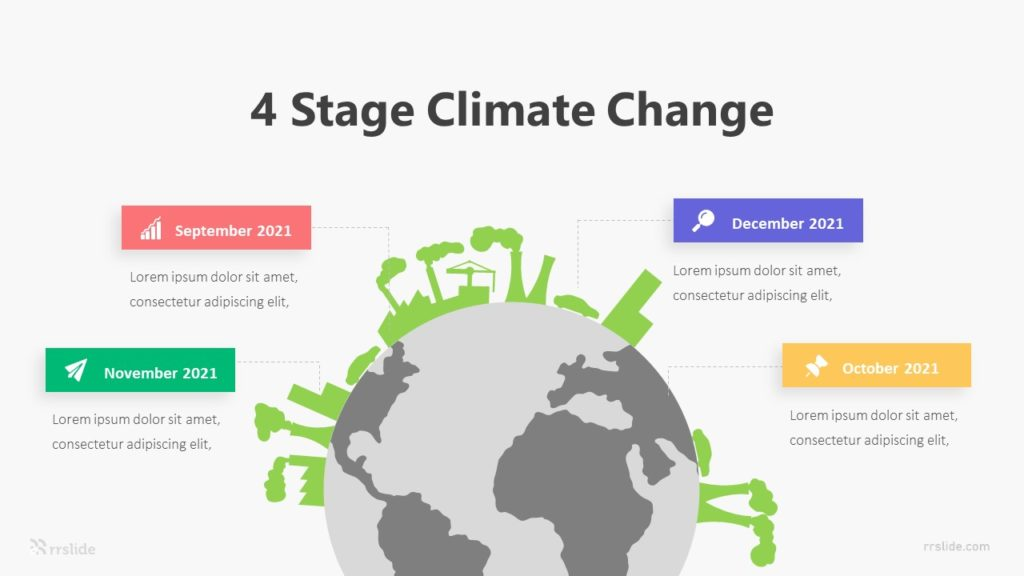 4 Stage Climate Change Infographic Template