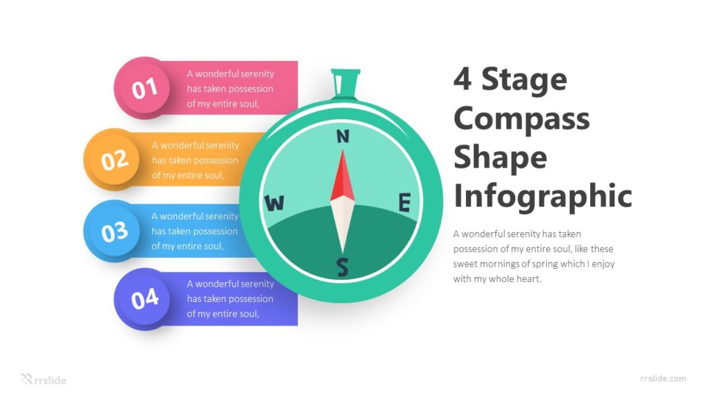 4 Stage Compass Shape Infographic Template