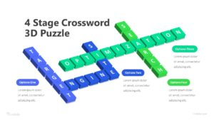 4 Stage Crossword 3D Puzzle Infographic Template